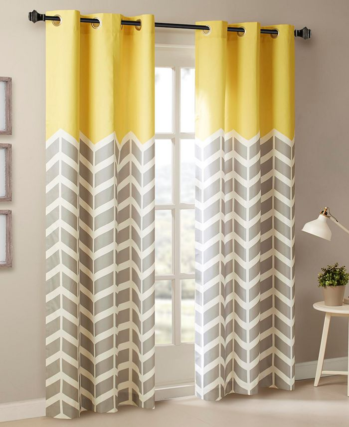 "Intelligent Design - Alex 42"" x 63"" Colorblock Chevron Print Insulated Curtain Set"