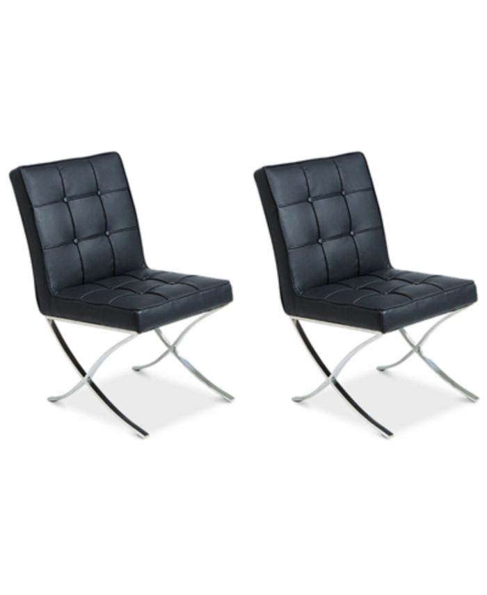 Noble House - Kalem Set of 2 Leather Side Chairs, Direct Ship