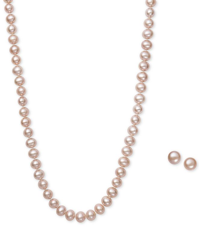 Macy's Pink Cultured Freshwater Pearl (6mm) Necklace and Matching Stud (7-1/2mm) Earrings Set in Sterling Silver