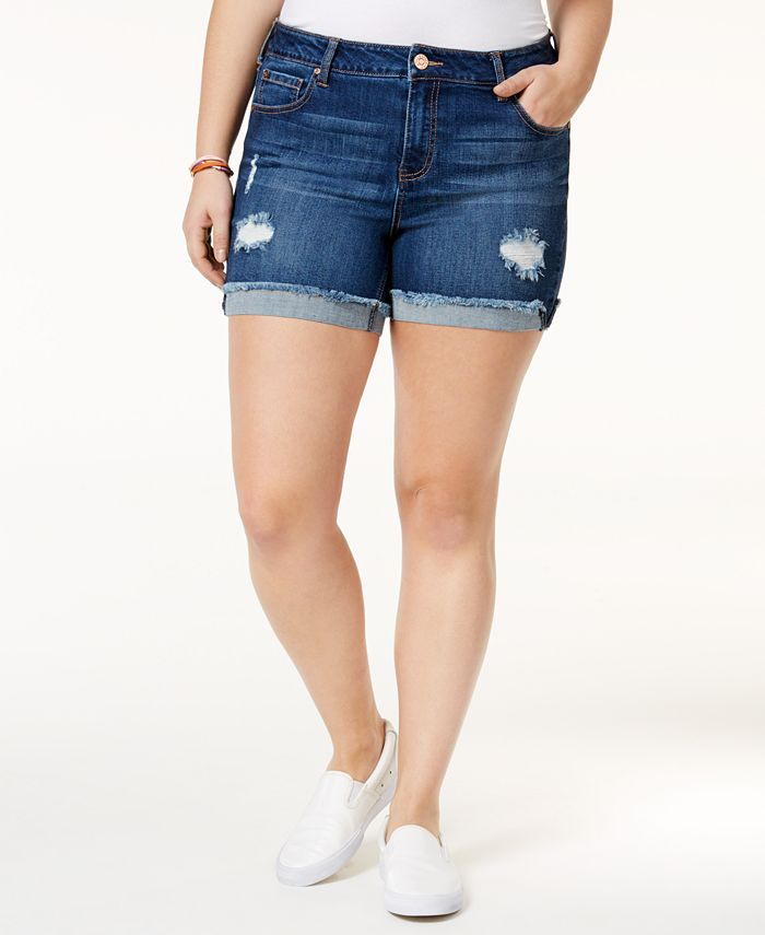 Celebrity Pink - Trendy Plus Size Denim Frayed Shorts