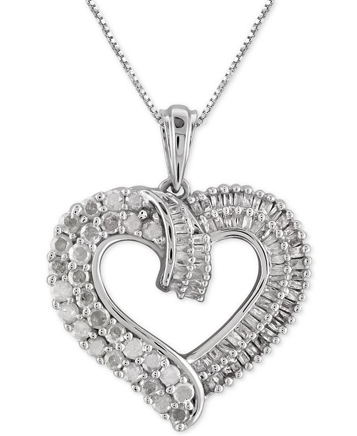 Macy's - Diamond Heart Pendant Necklace (1 ct. t.w.) in Sterling Silver