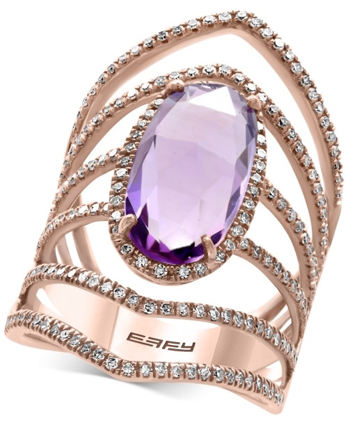 Effy Final Call Amethyst (4-1/3 ct. t.w.) and Diamond (3/4 ct. t.w.) Openwork Statement Ring in 14k Rose Gold