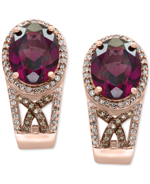 Effy Final Call Rhodolite Garnet (4-1/2 ct. t.w.) and Diamond (3/8 ct. t.w.) Drop Earrings in 14k Rose Gold