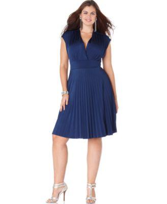 Soprano Plus Size Dress, Cap Sleeve Pleated Empire