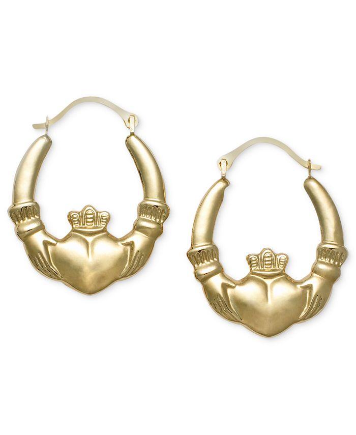Macy's - 10k Gold Earrings, Claddagh Hoops