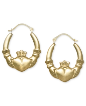 14k Gold Earrings, Claddagh Hoops