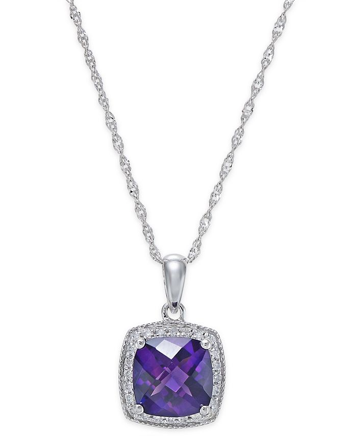 Macy's - Amethyst (1-1/5 ct. t.w.) and Diamond (1/10 ct. t.w.) Pendant Necklace in 14k White Gold