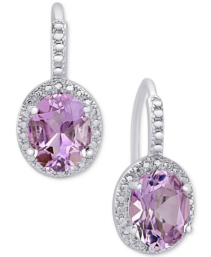 Macy's - Amethyst (2-2/5 ct. t.w.) and Diamond Accent Drop Earrings in Sterling Silver