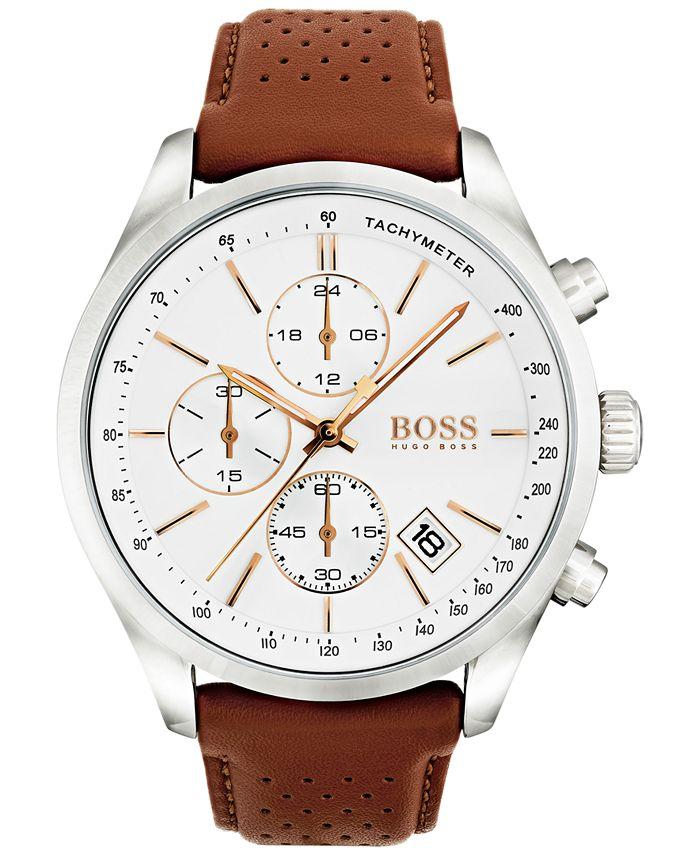 BOSS - Men's Chronograph Grand Prix Brown Leather Strap Watch 44mm 1513475