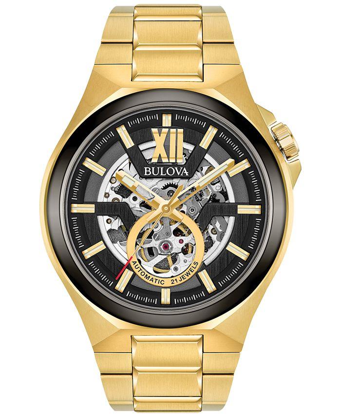 Bulova - Men's Automatic Gold-Tone Stainless Steel Bracelet Watch 46mm 98A178