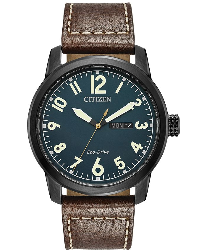 Citizen - Men's Eco-Drive Military Brown Leather Strap Watch 42mm BM8478-01L