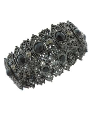 2028 Bracelet, Filigree Jet Stone and Crystal