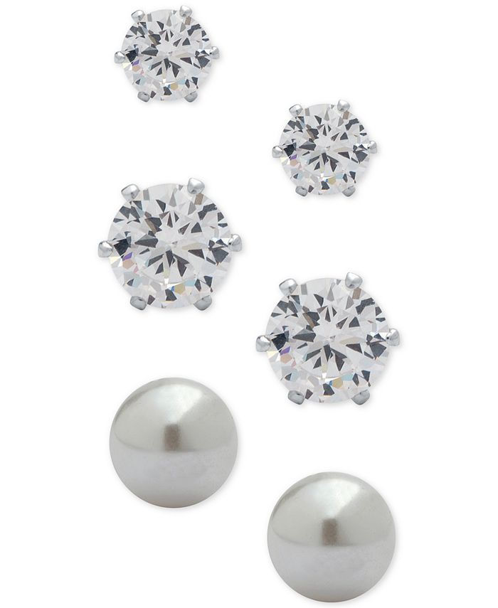 Anne Klein - 3-Pc. Set Crystal and Imitation Pearl Stud Earrings