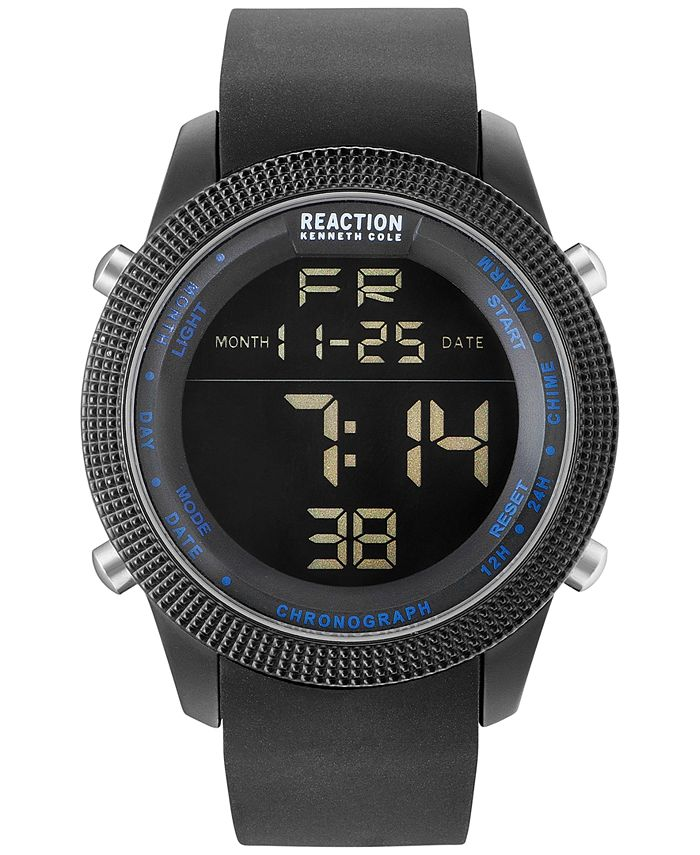 Kenneth Cole Reaction - Men's Digital Black Silicone Strap Watch 50mm 10031945