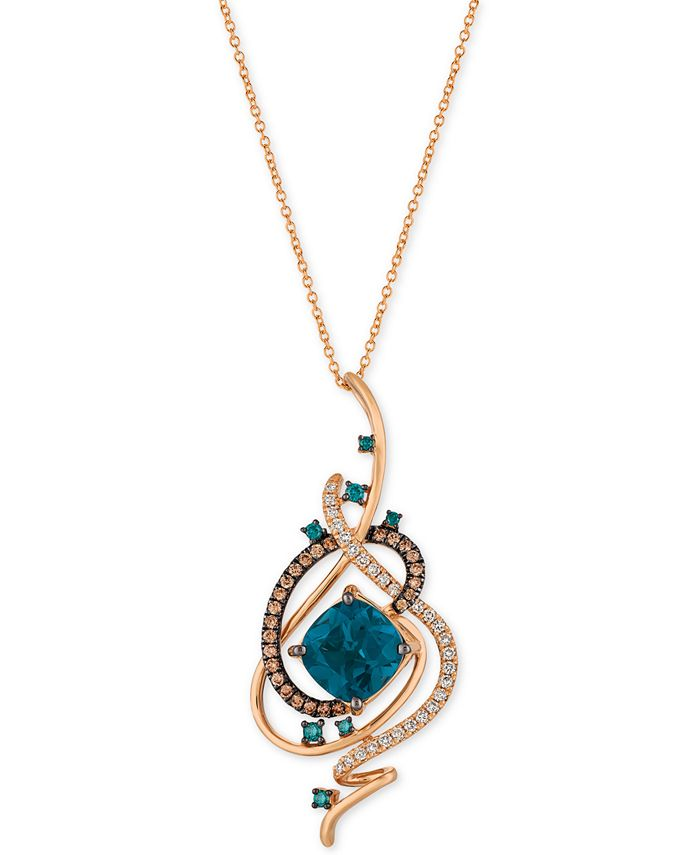 Le Vian - Deep Sea Blue Topaz™ (5-3/8 ct. t.w.) and Diamond (3/4 ct. t.w.) Pendant Necklace in 14k Rose Gold