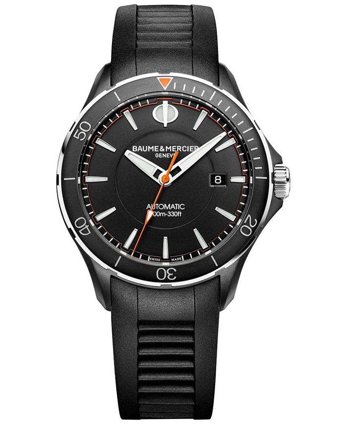 Baume & Mercier - Men's Swiss Automatic Clifton Club Black Vulcanized Rubber Strap Watch 42mm M0A10339