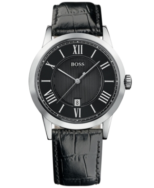 Hugo Boss Watch,  Men's Black Croc Embossed Leather Strap 1512429