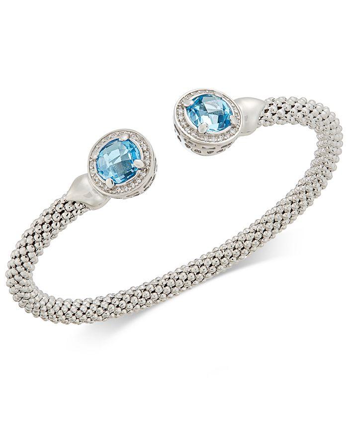 Macy's - Blue Topaz (4-1/2 ct. t.w.) & Diamond (1/3 ct. t.w.) Mesh Cuff Bracelet in Sterling Silver
