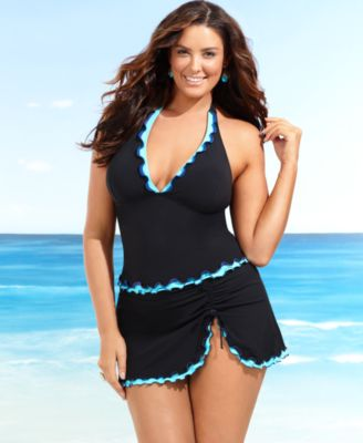 Profile by Gottex Plus Size  Swimsuit, Tricolore Ruffle Tankini Top & Ruffle Skirted Swim  Bottom