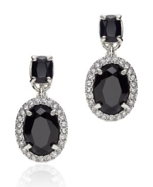 Monet Earrings, Silvertone Jet Crystal Drop