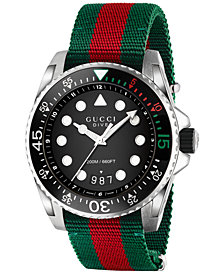 Gucci Men's Swiss Diver Green and Red Nylon Strap Watch 44mm