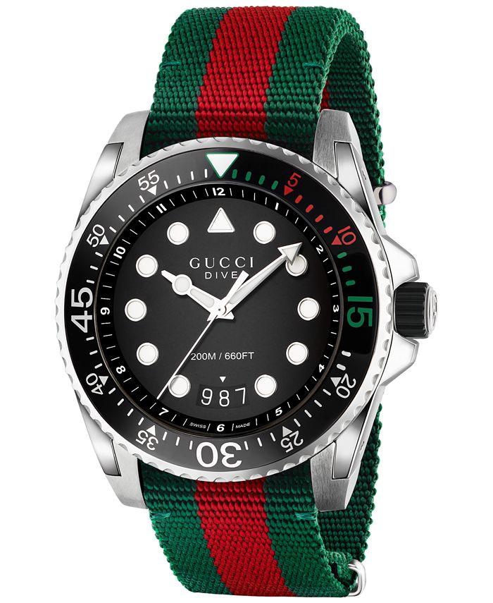 Gucci - Men's Swiss Dive Green and Red Nylon Strap Watch 44mm YA136209
