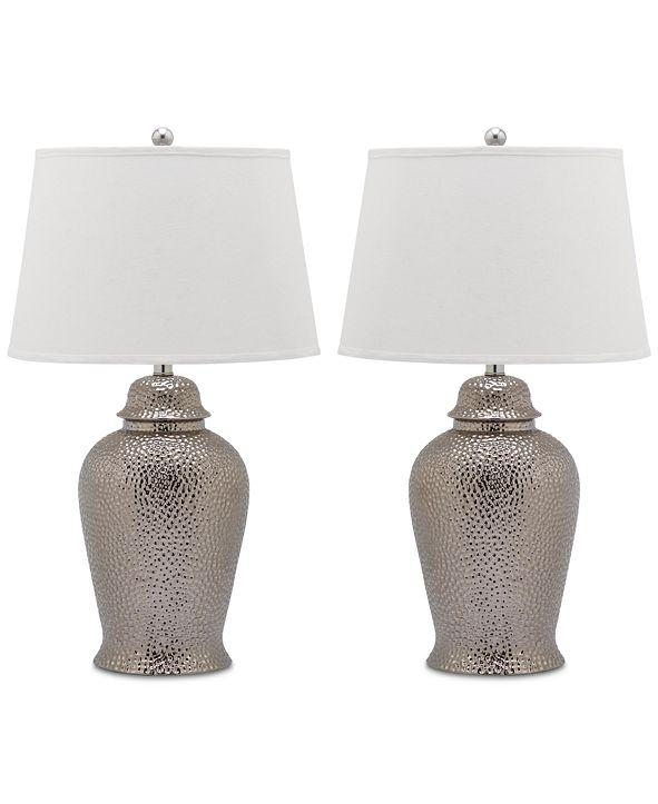 Safavieh Set of 2 Metallica Ginger Jar Ceramic Table Lamps