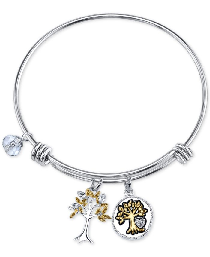 Unwritten Two-Tone Family Tree Message Charm Bangle Bracelet in Stainless Steel with Silver Plated Charms & Reviews - Bracelets - Jewelry & Watches - Macy's