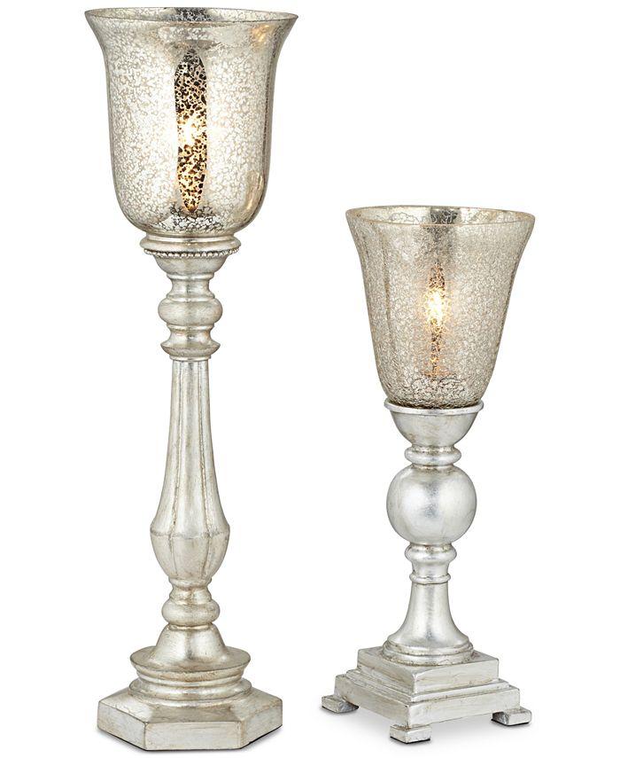 Kathy Ireland - Set of 2 Antique Mercury Shade Uplight Table Lamps