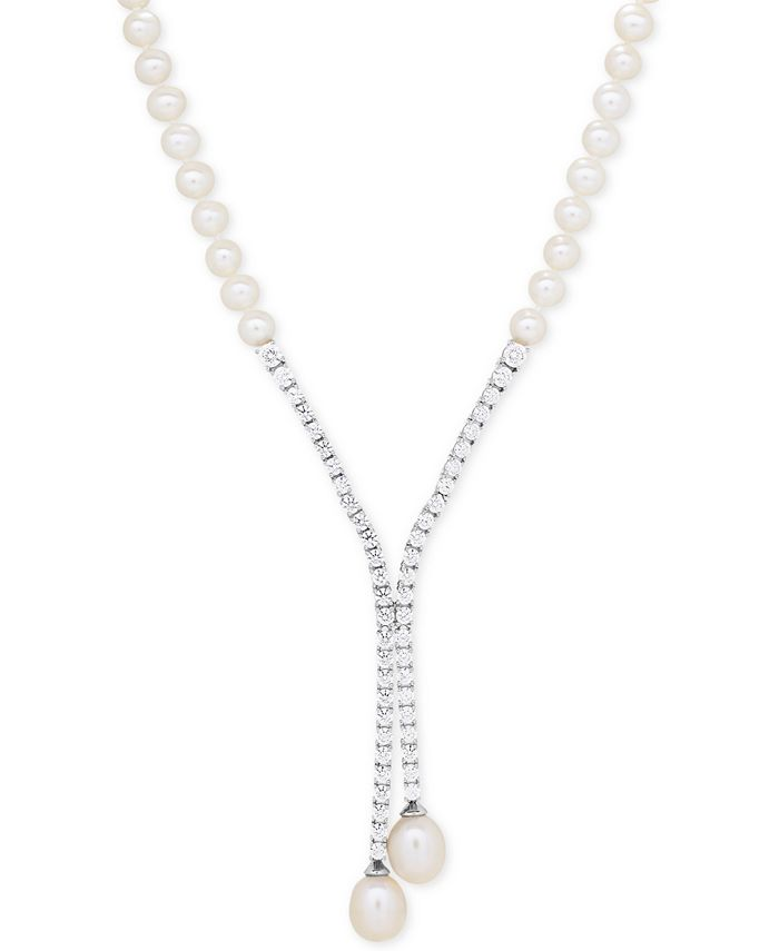 Arabella - Cultured Freshwater Pearl (5mm & 10 x 8mm) and Swarovski Zirconia Lariat Necklace in Sterling Silver