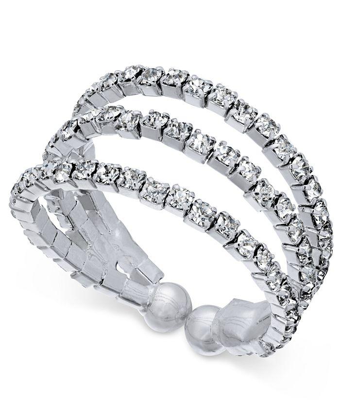 INC International Concepts - Silver-Tone Crystal Pavé Triple Band Flex Ring