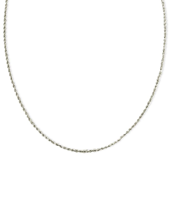 """Macy's - 14k White Gold Necklace, 20"""" Seamless Rope"""