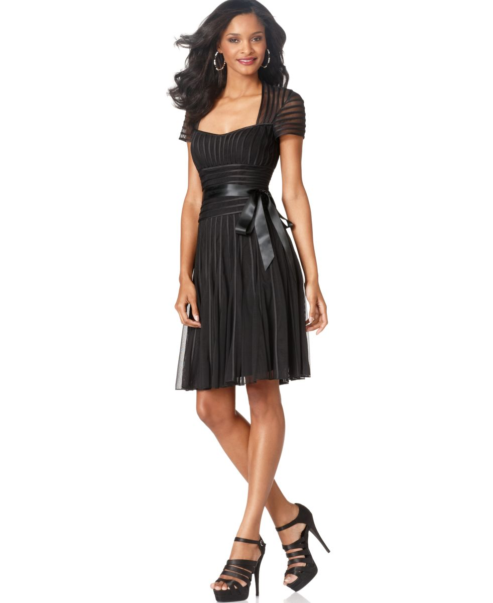 Js collection new black short sleeve belted cocktail for Macy black dress wear to wedding