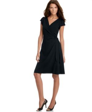 Studio M Dress, Flutter Sleeve Matte Jersey Wrap