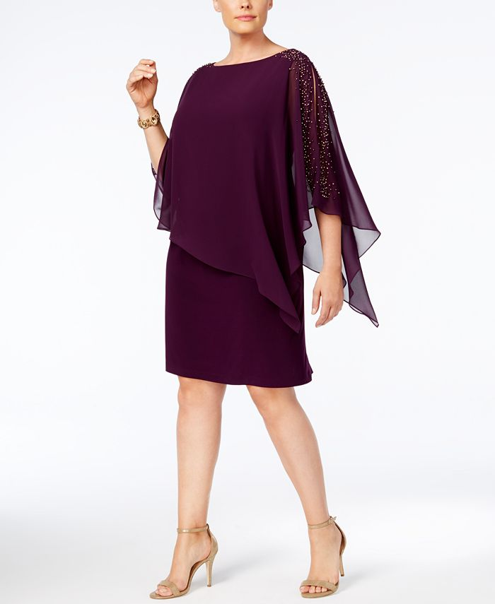 XSCAPE - Plus Size Beaded Chiffon Popover Dress