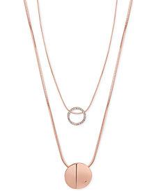 GUESS Rose Gold-Tone 2-Pc. Set Pavé Pendant Necklaces