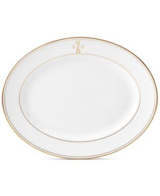 Federal Gold Monogram Oval Platter, Block Letters