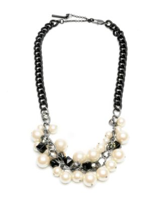 Kenneth Cole New York Necklace, Glass Pearl Cluster Bib
