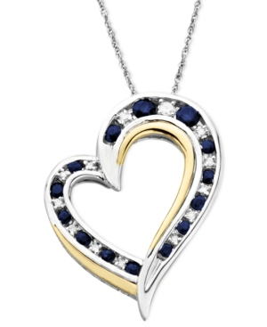 14k Gold and Sterling Silver Heart Necklace, Sapphire (1/2 ct. t.w.) and Diamond Accent