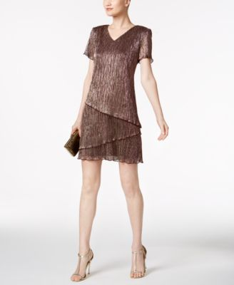 Connected Petite Tiered Metallic Shift Dress