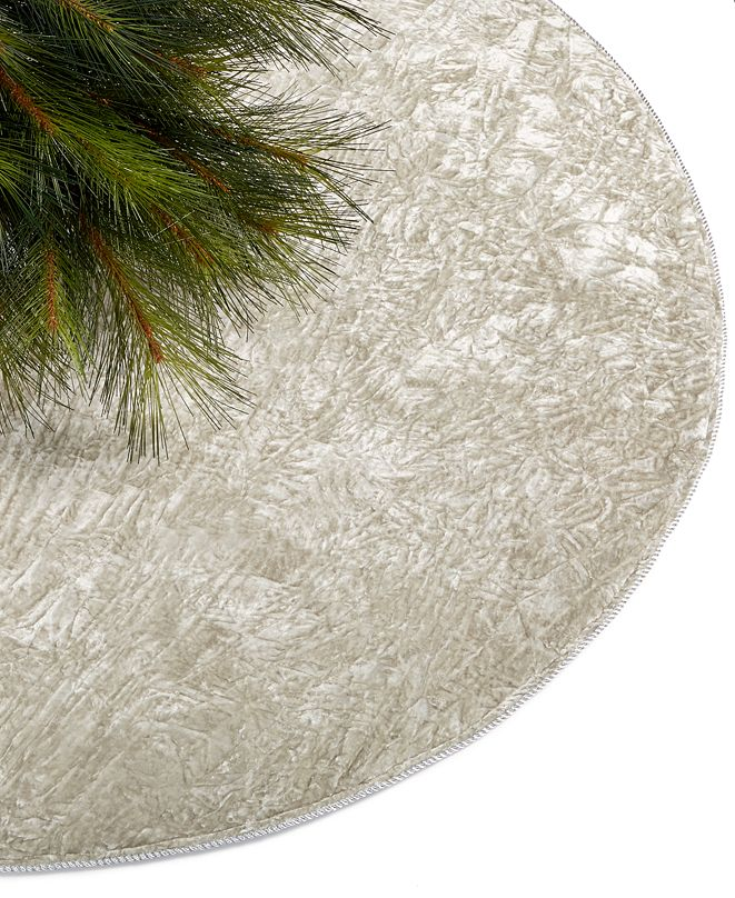 Holiday Lane Silver Velvet Tree Skirt, Created for Macy's