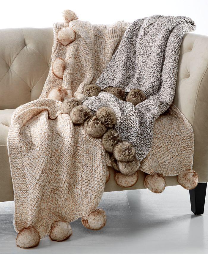 """Martha Stewart Collection - 50"""" x 60"""" Marled Basketweave Faux-Fur Pom Pom Throw"""