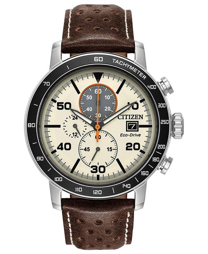 Citizen - Men's Chronograph Eco-Drive Brown Leather Strap Watch 44mm