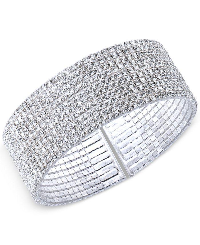 Anne Klein - Silver-Tone Crystal Cuff Bracelet