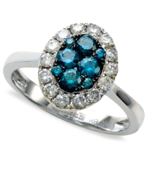 Bella Bleu by Effy Collection Diamond Ring, 14k White Gold Blue Diamond (3/8 ct. t.w.) and White Diamond (3/8 ct. t.w.) Oval