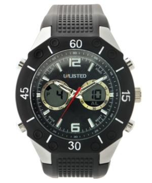Unlisted Watch, Men's Black Polyurethane Strap UL1159