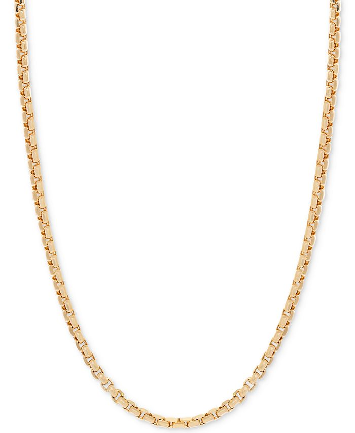 Italian Gold - Round Box Link Chain Necklace in 14k Gold