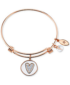 Unwritten Two-Tone Girlfriends Heart Charm Bangle Bracelet in Rose Gold-Tone Stainless Steel with Silver Plated Charms