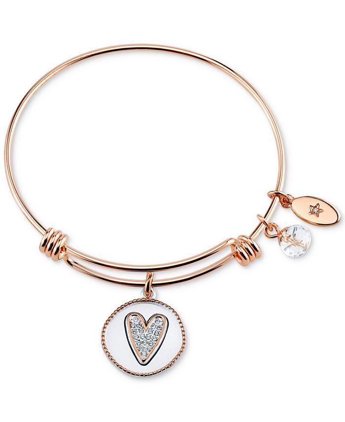 "Unwritten - Two-Tone ""Girlfriends"" Heart Charm Bangle Bracelet in Rose Gold-Tone Stainless Steel"