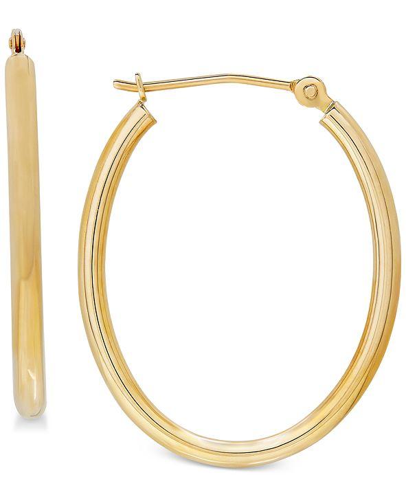 Macy's Polished Oval Tube Hoop Earrings in 10k Gold, 1 inch